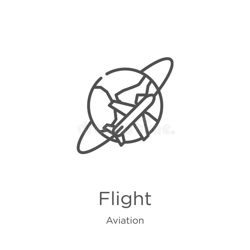 Flight icon vector from aviation collection. Thin line flight outline icon vector illustration. Outline, thin line flight icon for. Flight icon. Element of royalty free illustration