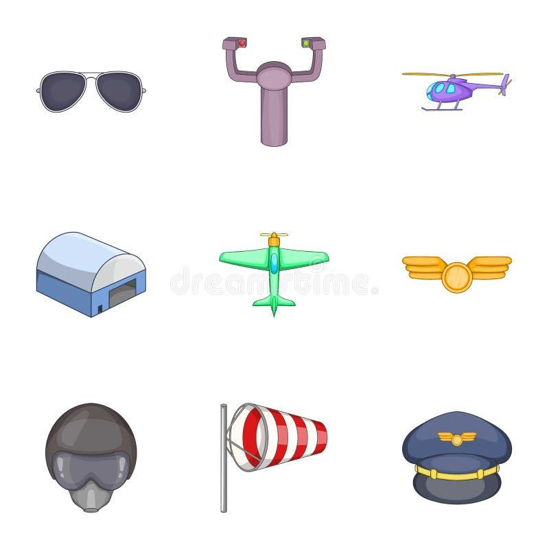 Flight icons set, cartoon style. Flight icons set. Cartoon illustration of 9 flight vector icons for web vector illustration