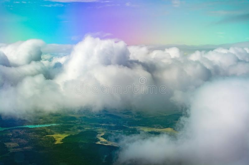 Flight images with clouds stock photos