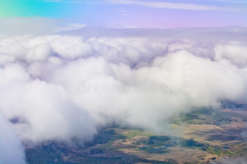 Flight images with clouds stock photo