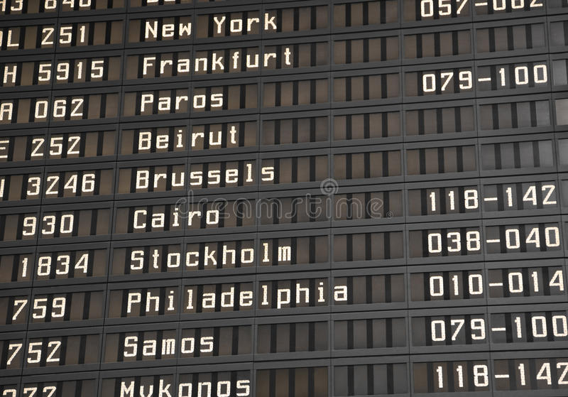 Flight information board in airport. Terminal - travel background stock photography