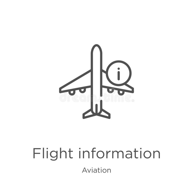 Flight information icon vector from aviation collection. Thin line flight information outline icon vector illustration. Outline,. Flight information icon royalty free illustration