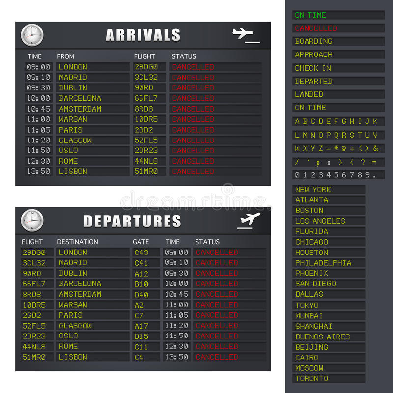 Flight Information - Set 2 - Cancelled Flights Stock Photos