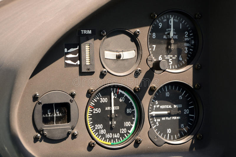 Flight instruments in airplane cockpit stock photography