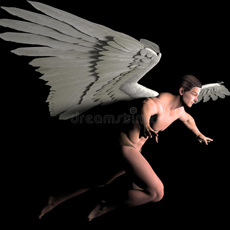 Flight. A male angel in a pose vector illustration