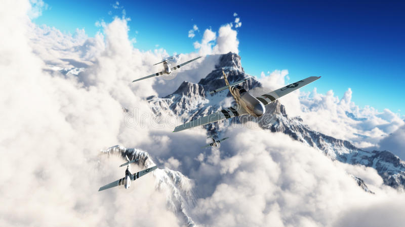 Flight of the Mustangs . P51 mustangs returning home from a mission high above the clouds. High resolution 3d model rendering stock image