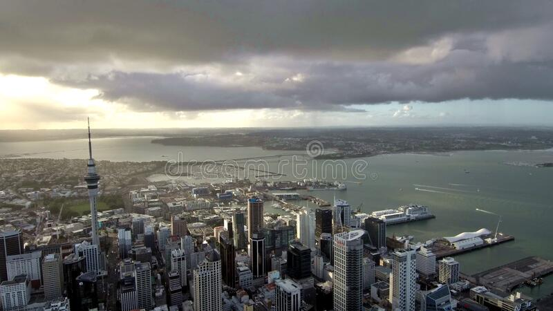 Flight over Auckland New Zealand stock photos