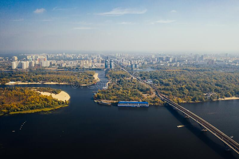 Flight over the Bridge in Kiev. Aerial photography stock images