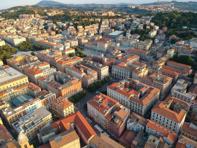 Flight over the city of Ancona Italy. An image of a flight over the city of Ancona Italy royalty free stock photo
