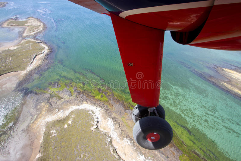 Flight over Falkland Islands stock photography