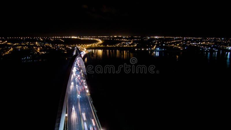 Flight over JK Bridge, cultural heritage of brasilia. General view of JK Bridge, Cultural Heritage of Brasília royalty free stock photography