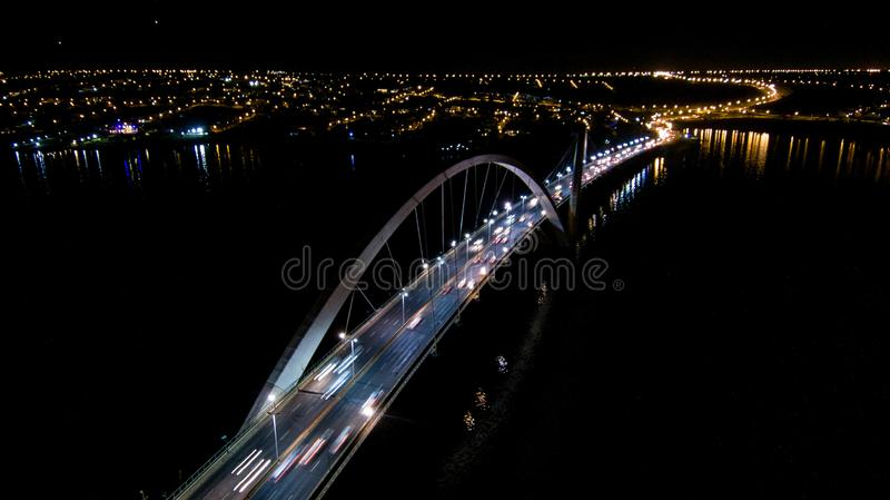 Flight over JK Bridge, cultural heritage of brasilia. General view of JK Bridge, Cultural Heritage of Brasília stock photos