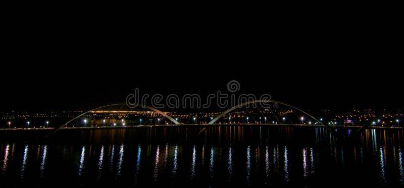 Flight over JK Bridge, cultural heritage of brasilia. General view of JK Bridge, Cultural Heritage of Brasília royalty free stock photo
