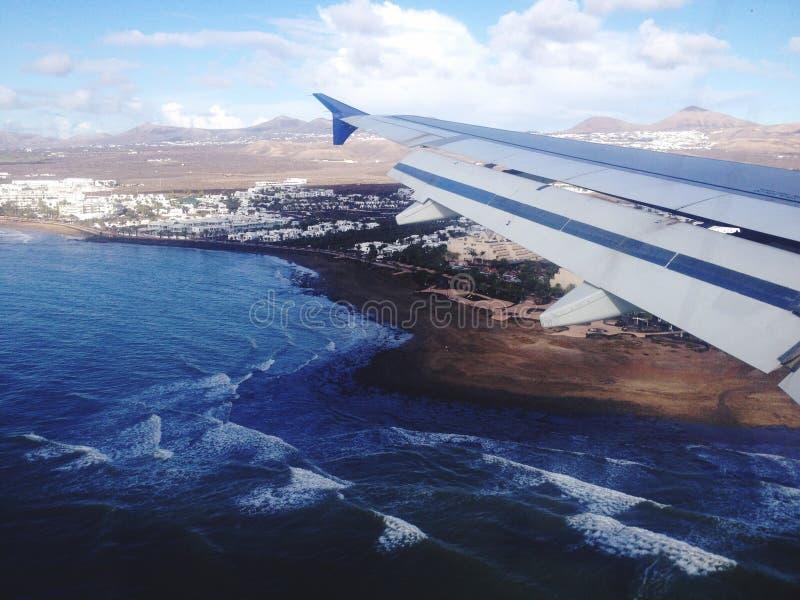 Flight over Lanzarote royalty free stock photo