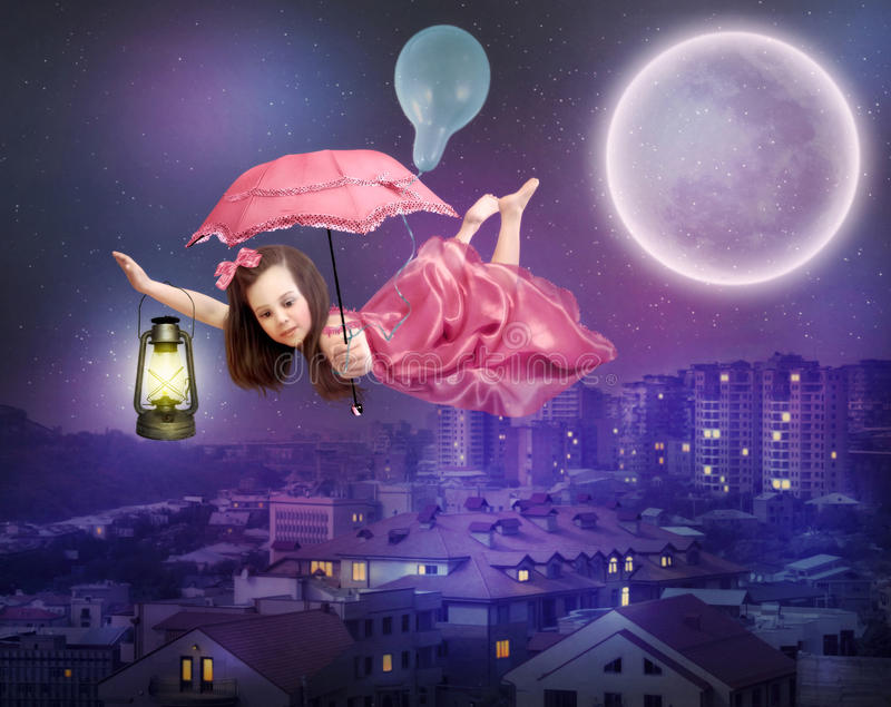 Flight over the night city. A little girl in a pink dress with an umbrella in her hands flies over the night city. Flight over the night city royalty free illustration