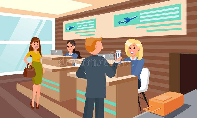 Flight Registration in Airport Flat Illustration. vector illustration