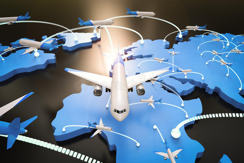 Flight route with world map. 3d rendering flight route with world map stock illustration