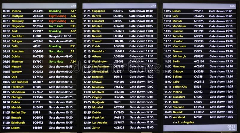 Flight scheduld / Departure times information digital board royalty free stock photos