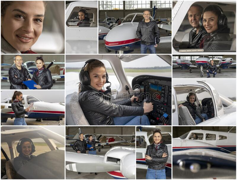 Flight School - Woman in Aviation - Gender Equality at Work - Photo Collage royalty free stock image