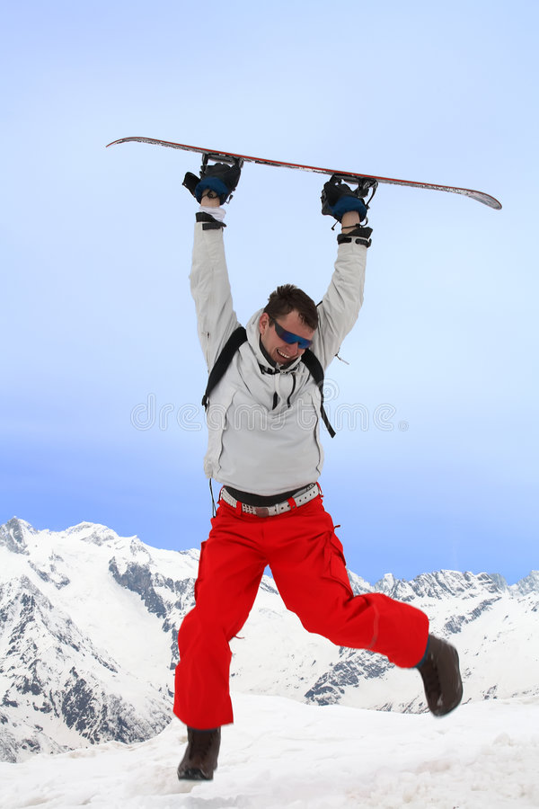 Flight With Snowboard Stock Photos
