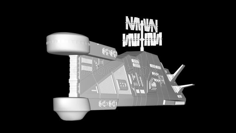 Flight of the spacecraft on a dark background vector illustration