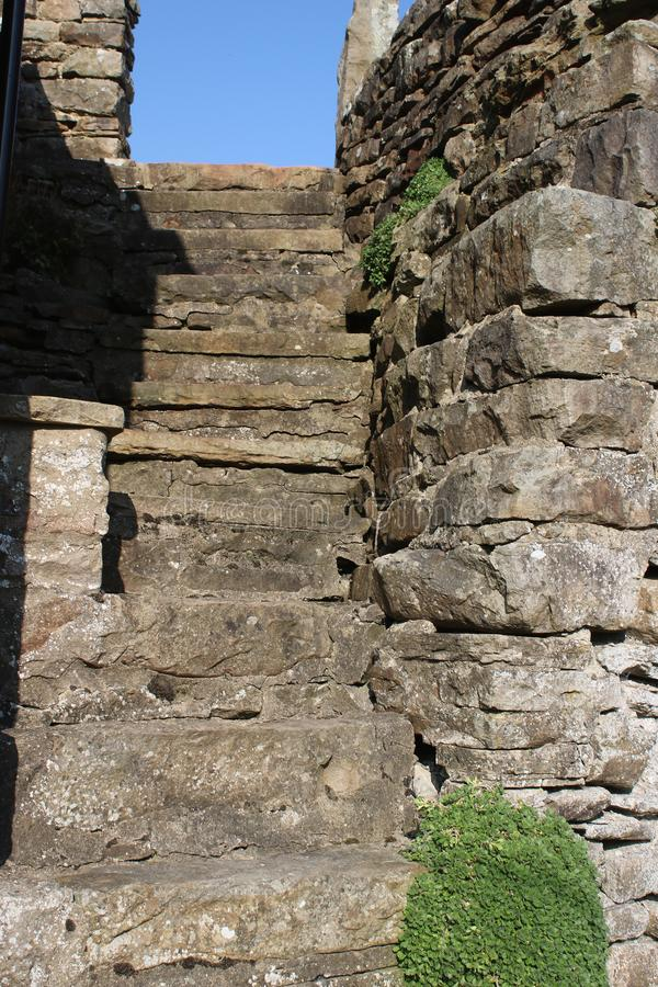 Flight of steps outside building Muker, Swaledale stock image