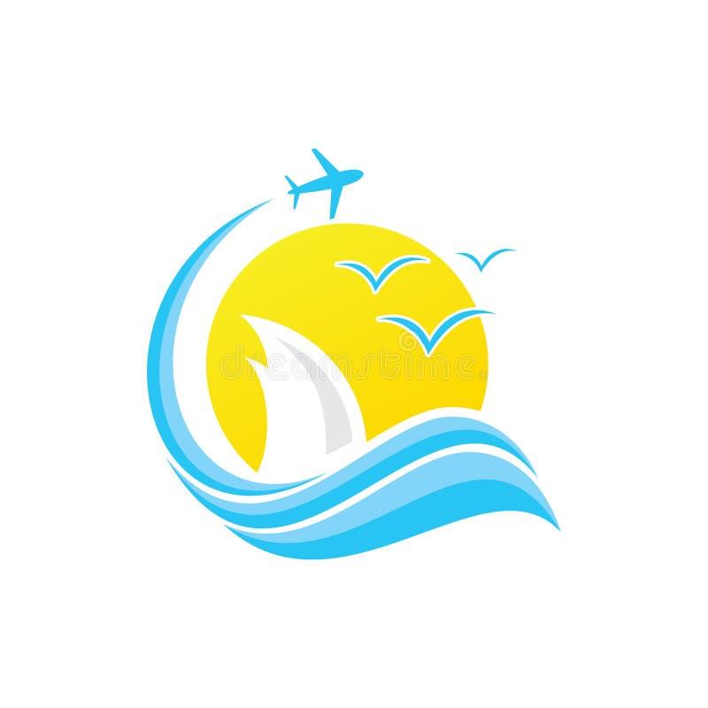 Flight summer cloud business travel vector design emblem with blue color. Speed travel vector logo template. Vector illustration EPS.8 EPS.10 royalty free illustration