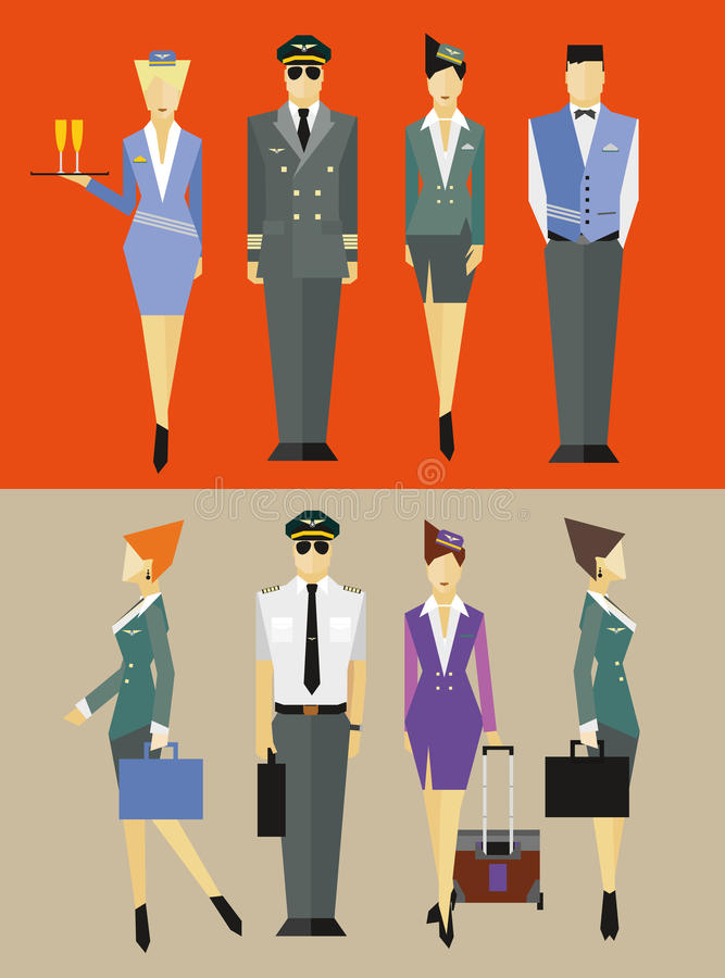 Flight team captain and attendants stock photography