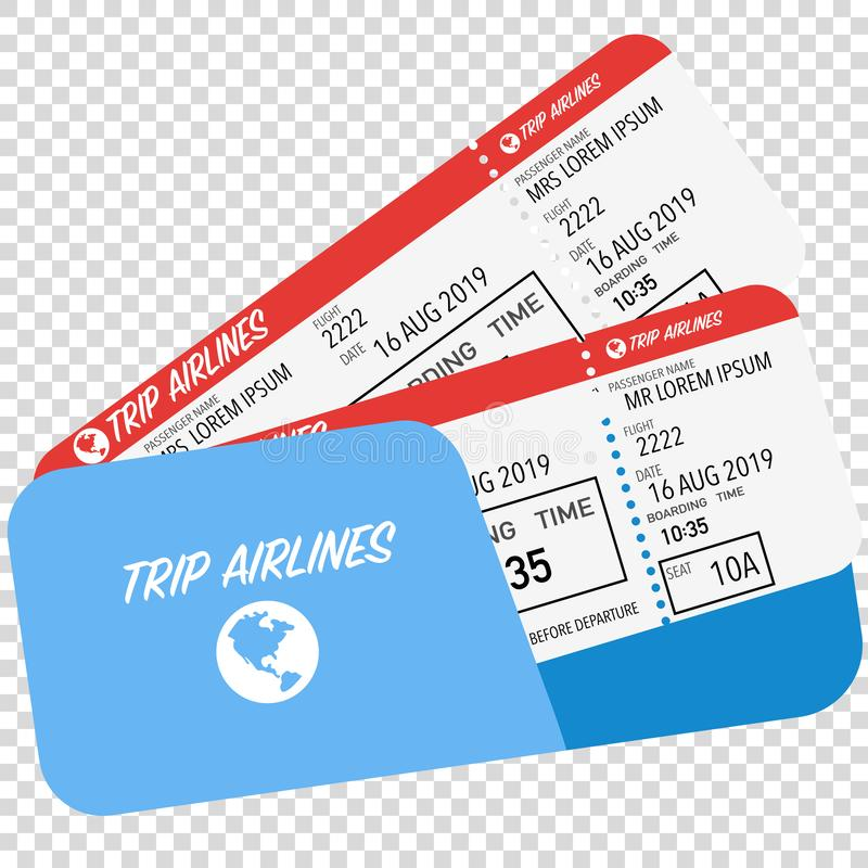 flight ticket for passenger plane boarding red vector illustration