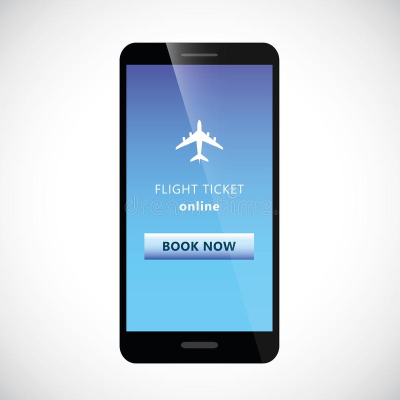 Flight tickets online from smartphone mobile phone with plane and book button vector illustration