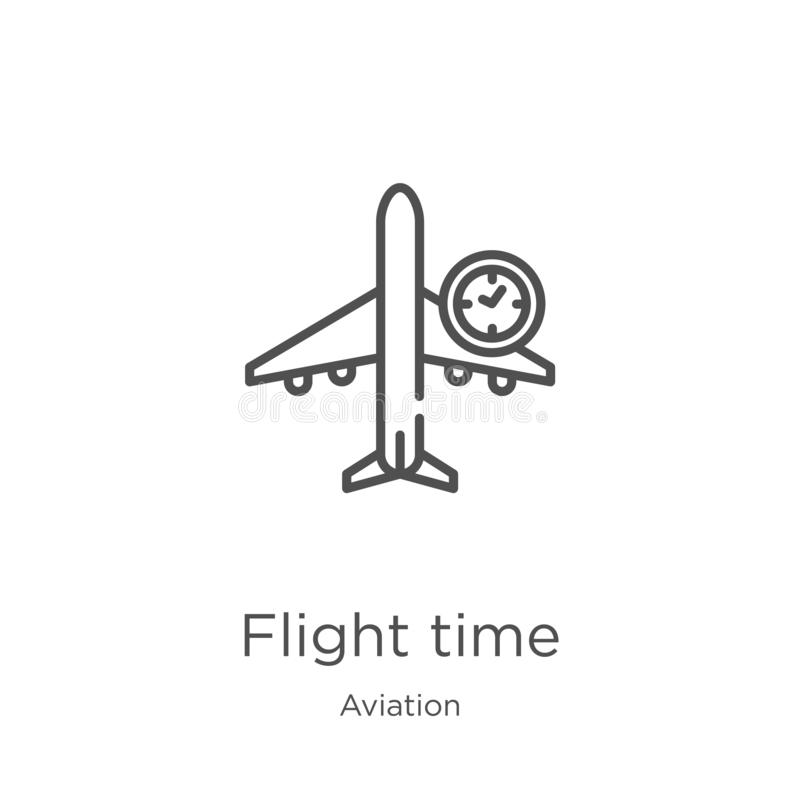 Flight time icon vector from aviation collection. Thin line flight time outline icon vector illustration. Outline, thin line. Flight time icon. Element of vector illustration