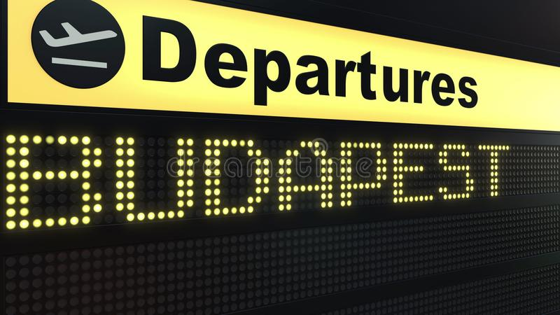 Flight to Budapest on international airport departures board. Travelling to Hungary conceptual 3D rendering. Flight to Budapest on international airport royalty free illustration