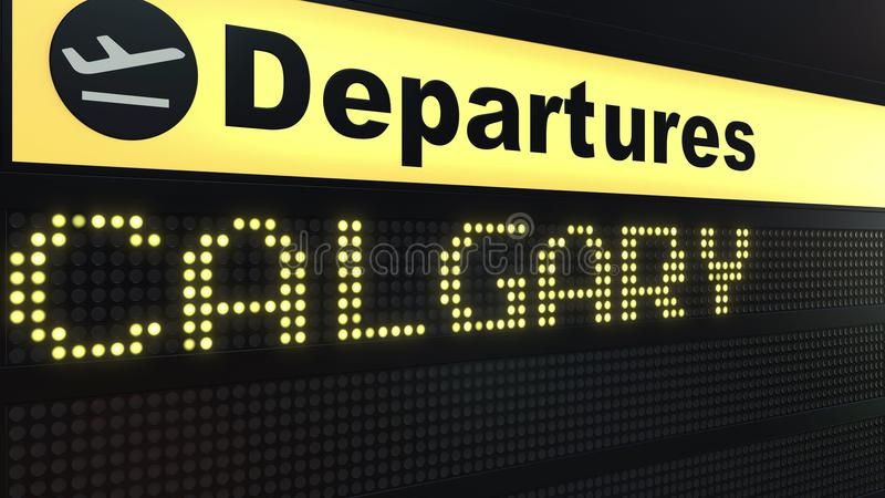 Flight to Calgary on international airport departures board. Travelling to Canada conceptual 3D rendering. Flight to Calgary on international airport departures stock illustration