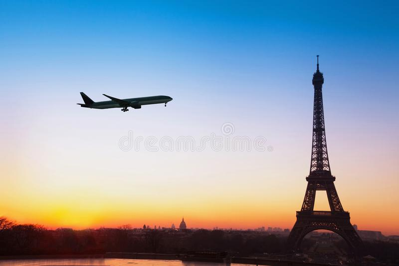 Flight to Paris, travel by airplane to France stock photos