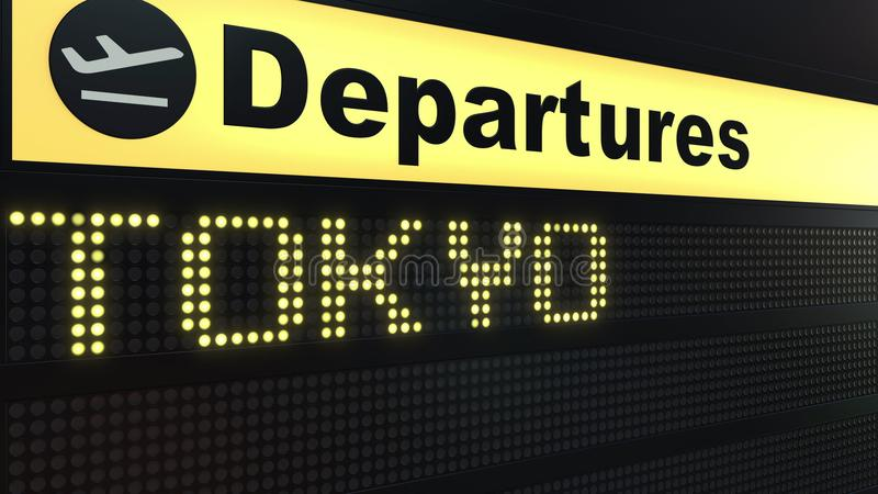 Flight to Tokyo on international airport departures board. Travelling to Japan conceptual 3D rendering royalty free illustration