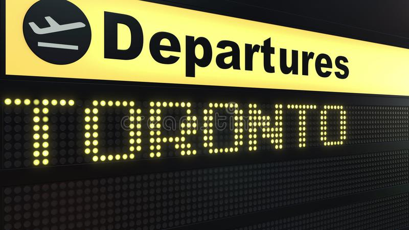 Flight to Toronto on international airport departures board. Travelling to Canada conceptual 3D rendering. Flight to Toronto on international airport departures vector illustration