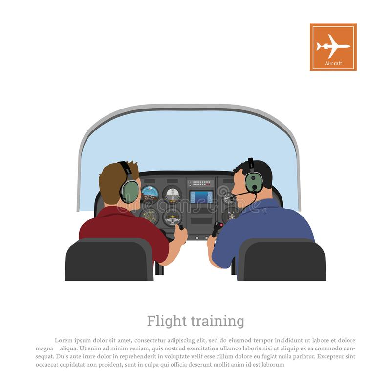 Flight training. Cabin of the aircraft from the inside. Airplane piloting lessons. Vector illustration royalty free illustration