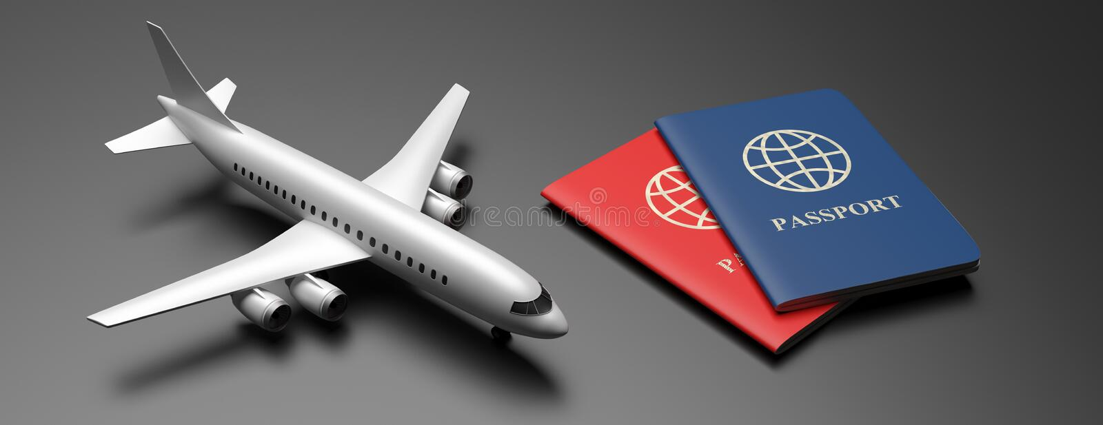 Blue and red passports on black background, banner. 3d illustration. Flight and travel documents for business trip, immigration, tourism. Airplane model and two vector illustration
