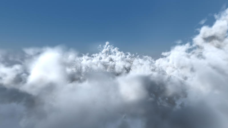 Flight through the white clouds stock illustration