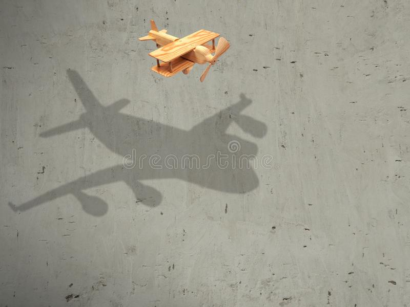 The flight wood airplane with the shadow plane royalty free stock image