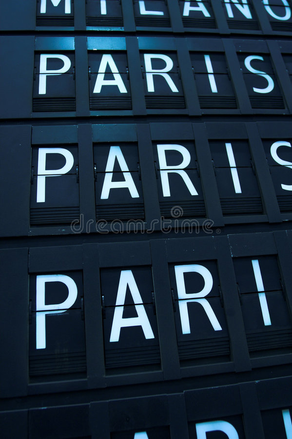 Flights to Paris, France. Airport departures and arrivals. Flight info board on airport. Paris concept royalty free stock photography