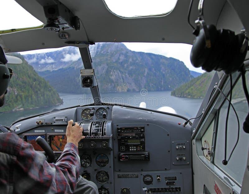 Flightseeing有薄雾的海湾 库存照片