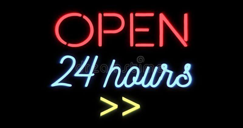 Flimra blinka det röda och blåa neontecknet på svart bakgrund som är öppen shoppa stången som 24 timmar undertecknar stock illustrationer
