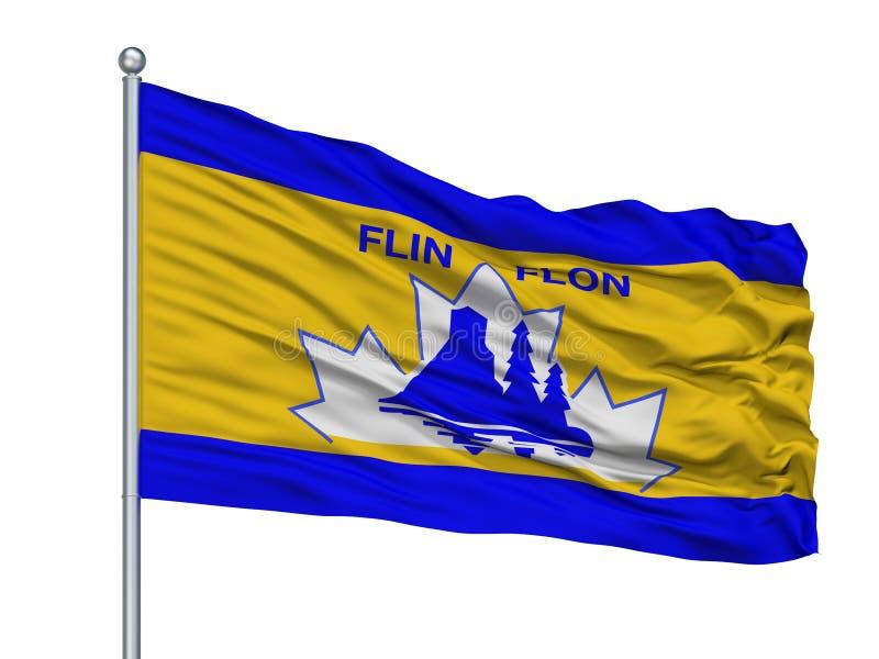 Flin Flon在旗杆,加拿大的市旗子,隔绝在白色背景 皇族释放例证