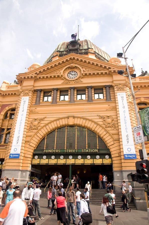 flinders Melbourne stacyjna ulica fotografia royalty free