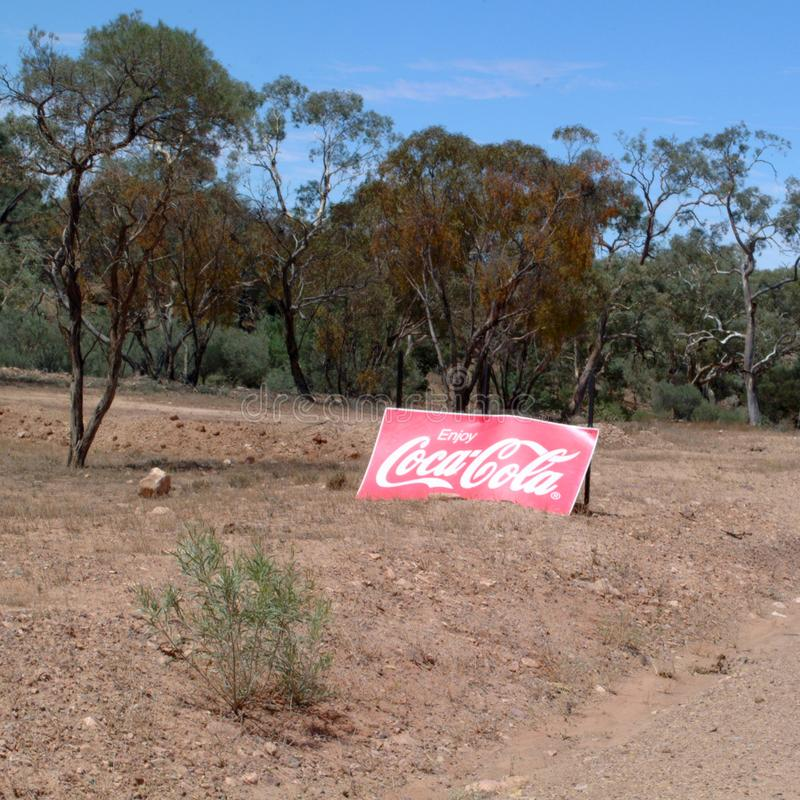 Coca cola sign in iga warta park. Flinders Rangers National Park, Australia - February 09, 2002: Iga warta landscape with Coca Cola sign royalty free stock photos