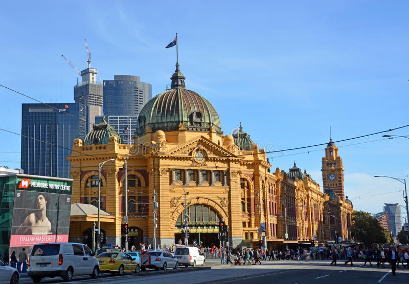Flinders-Straßen-Bahnhof, Melbourne lizenzfreie stockfotos