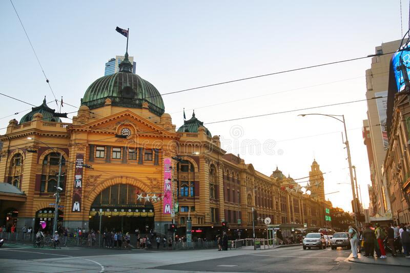 Flinders Street Railway Station in Melbourne city, Australia. royalty free stock images