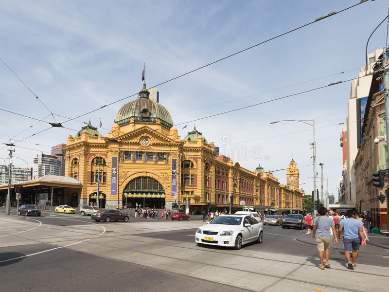Flinders Street Station Station in Melbourne, Australia. Melbourne - February 23, 2016: The main entrance to the railway station Flinders Street Station with a royalty free stock photography