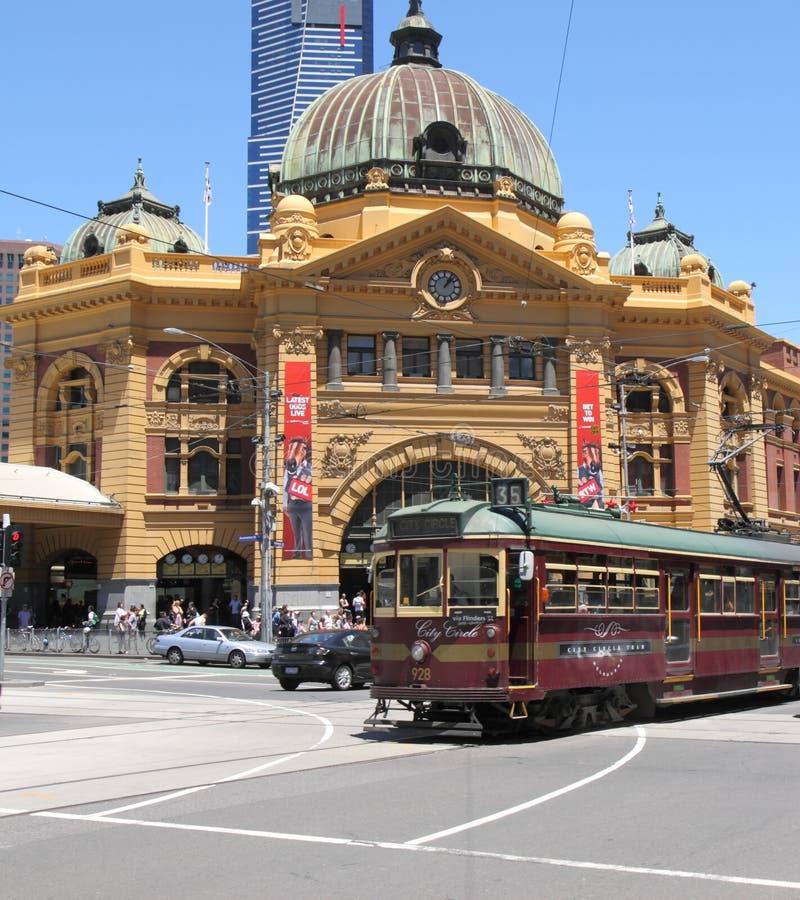 Flinders street station and tram stock image
